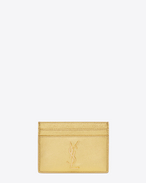 MONOGRAM SAINT LAURENT CREDIT CARD CASE IN Gold Metallic grained LEATHER
