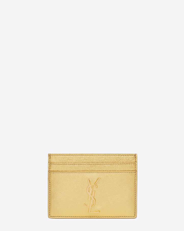 saint laurent monogram saint laurent credit card case in gold metallic grained leather