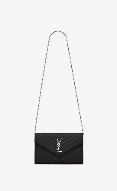 SAINT LAURENT Mini bags Matelassé Woman monogram chain wallet in black grain de poudre textured matelassé leather a_V4