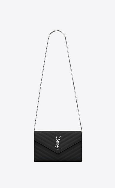 SAINT LAURENT Matelassé chain wallet D monogram portemonnaie mit kette aus schwarzem matelassé-leder mit grain de poudre struktur v4