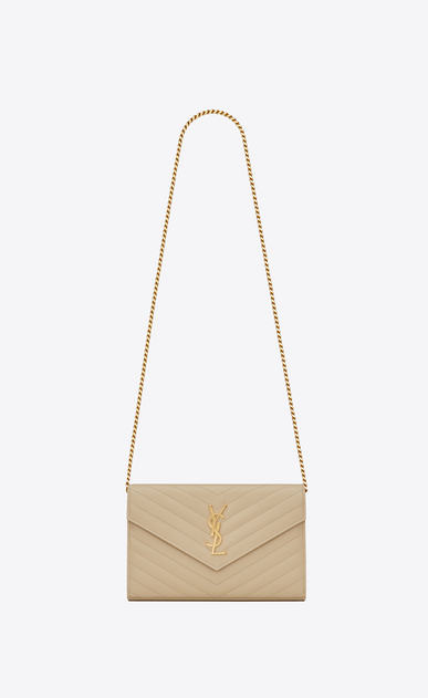 SAINT LAURENT Mini bags Matelassé Woman chain wallet in powder textured matelassé leather a_V4