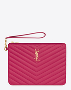MONOGRAM SAINT LAURENT Pouch in Lipstick Fuchsia MATELASSÉ LEATHER