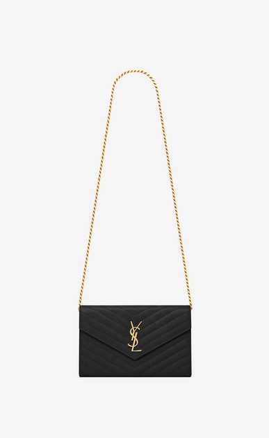 SAINT LAURENT Mini bags Enveloppe Woman chain wallet in black textured matelassé leather a_V4