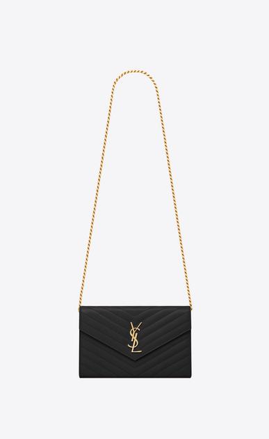 SAINT LAURENT Matelassé chain wallet D portafoglio monogram nero in pelle grain de poudre con catena v4
