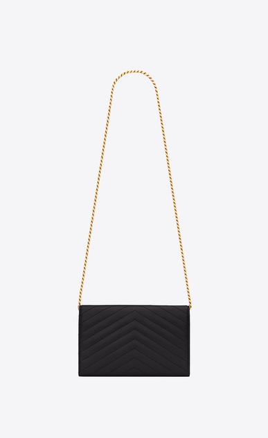 SAINT LAURENT Matelassé chain wallet D monogram chain wallet in black grain de poudre textured matelassé leather b_V4