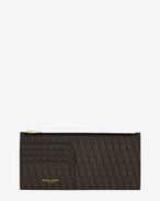 SAINT LAURENT Monogram SLG U CLASSIC TOILE MONOGRAM Fragments Pouch IN BLACK Printed Canvas f
