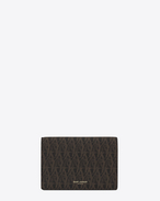 SAINT LAURENT Monogram SLG U CLASSIC TOILE MONOGRAM Business Card CASE IN BLACK PRINTED CANVAS AND LEATHER f