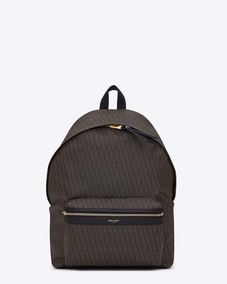 Saint Laurent Classic Toile Monogram Backpack In Black
