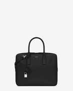 CLASSIC Small MUSEUM Flat BRIEFCASE IN Black GRAIN DE POUDRE TEXTURED LEATHER