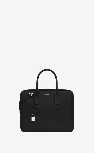 SAINT LAURENT Business Man small museum flat briefcase in black textured leather a_V4
