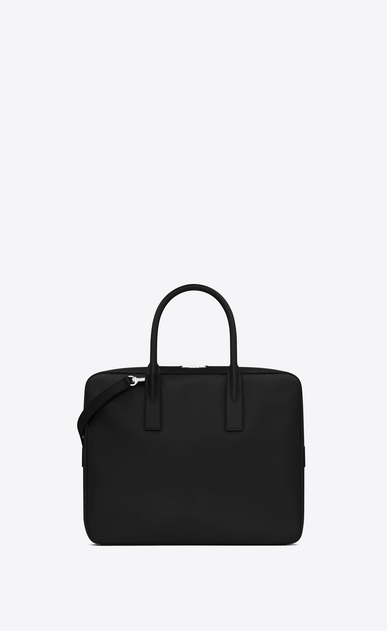 SAINT LAURENT Business Man small museum flat briefcase in black textured leather b_V4