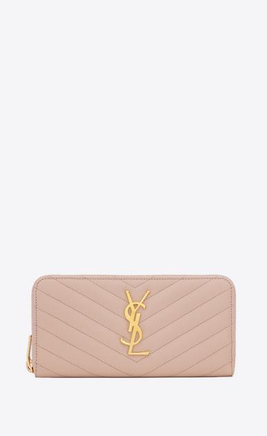 SAINT LAURENT Monogram Matelassé D monogram zip around wallet in pale pink grain de poudre matelassé textured leather a_V4