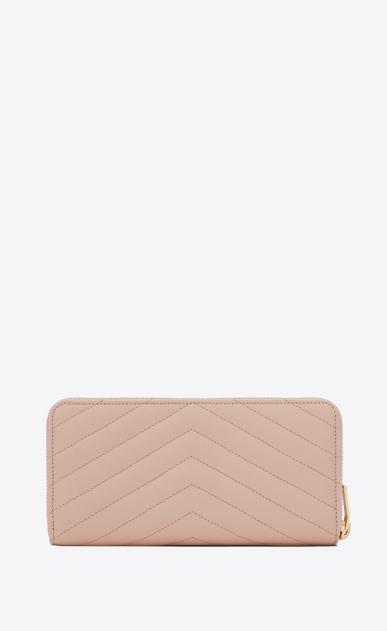 SAINT LAURENT Monogram Matelassé D monogram zip around wallet in pale pink grain de poudre matelassé textured leather b_V4