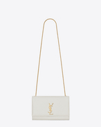 SAINT LAURENT MONOGRAM KATE D SATCHEL MEDIUM MONOGRAMME en CUIR TEXTURÉ GRAIN-DE-POUDRE BLANC f