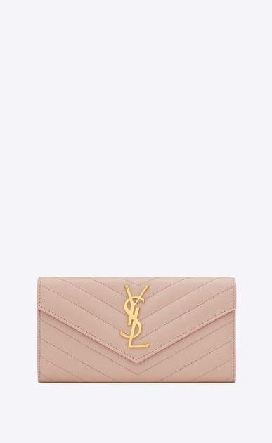 SAINT LAURENT Monogram Matelassé D large monogram flap wallet in pale pink grain de poudre textured matelassé leather a_V4