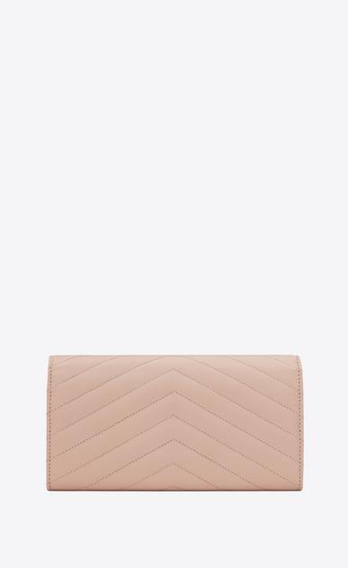 SAINT LAURENT Monogram Matelassé D large monogram flap wallet in pale pink grain de poudre textured matelassé leather b_V4