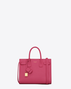 SAINT LAURENT Baby Sac de Jour D Classic Baby SAC DE JOUR BAG IN Lipstick fuchsia Grained Leather f