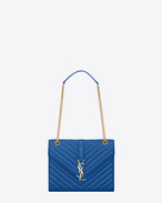 Classic medium MONOGRAM SAINT LAURENT satchel in royal blue matelassé leather
