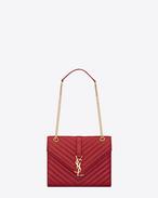 SAINT LAURENT MONOGRAMME SATCHEL D Classic medium MONOGRAM SAINT LAURENT satchel in lipstick red matelassé metallic leather f