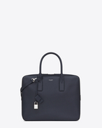 SAINT LAURENT Business U Classic Small Museum Briefcase in Navy Blue Grain de Poudre Textured Leather f