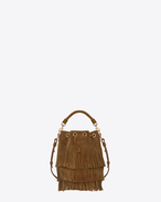 Small Emmanuelle Fringed BUCKET BAG IN Ocher Suede and Leather