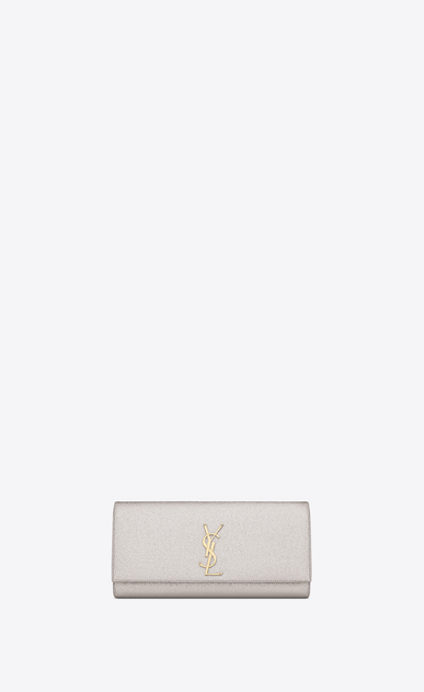 kate clutch in grained metallic leather