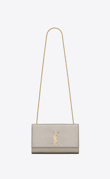 SAINT LAURENT MONOGRAM KATE Woman medium kate Chain bag in pale gold grained metallic leather a_V4
