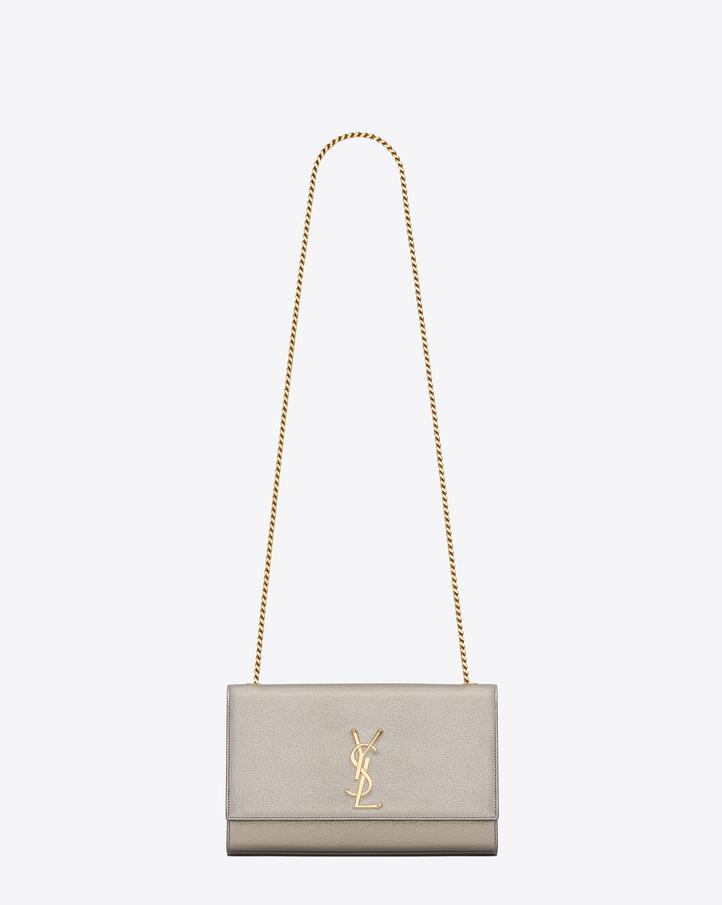 saint laurent classic medium kate satchel in pale gold grained metallic leather