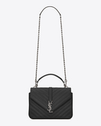 SAINT LAURENT Monogram College D CLASSIC Medium COLLèGE MONOGRAM SAINT LAURENT BAG IN Black MATELASSÉ LEATHER f
