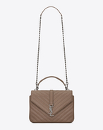 SAINT LAURENT Monogram College D CLASSIC Medium COLLèGE MONOGRAM SAINT LAURENT BAG IN Taupe MATELASSÉ LEATHER f