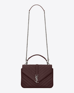 SAINT LAURENT Monogram College D CLASSIC Medium COLLèGE MONOGRAM SAINT LAURENT BAG IN Bordeaux MATELASSÉ LEATHER f