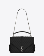 SAINT LAURENT Monogram College D CLASSIC Large collège MONOGRAM SAINT LAURENT BAG IN Black MATELASSÉ LEATHER f