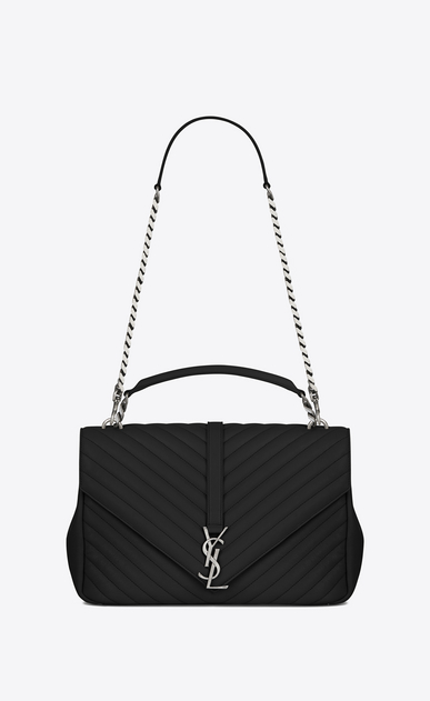 SAINT LAURENT Monogram College D classic large collège bag in black matelassé leather a_V4