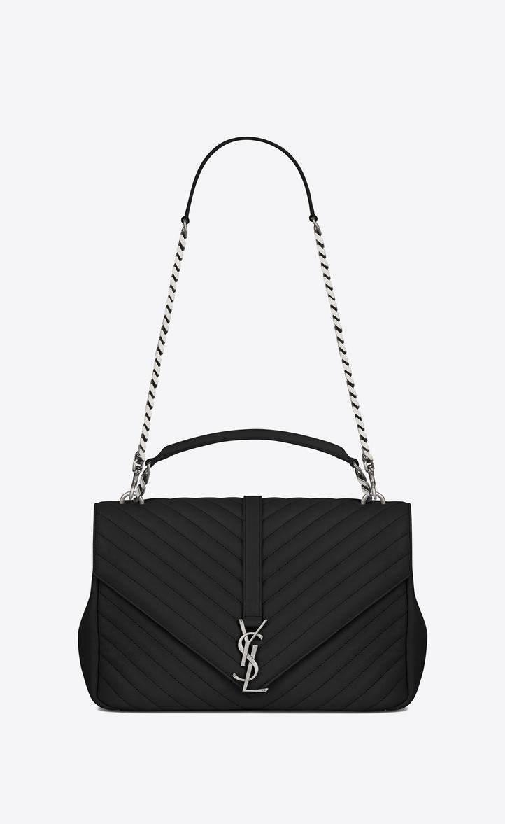0e5961f8d8bd Saint Laurent Large Collège Bag In Black Matelassé Leather ...
