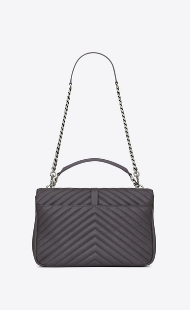SAINT LAURENT Monogram College D classic large collège bag in dark anthracite matelassé leather b_V4
