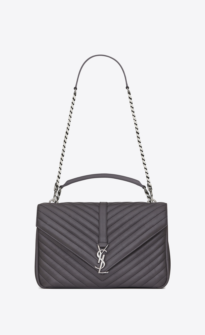 Saint Laurent Large Collège Bag In Dark Anthracite Matelassé ... 4baa369c5a