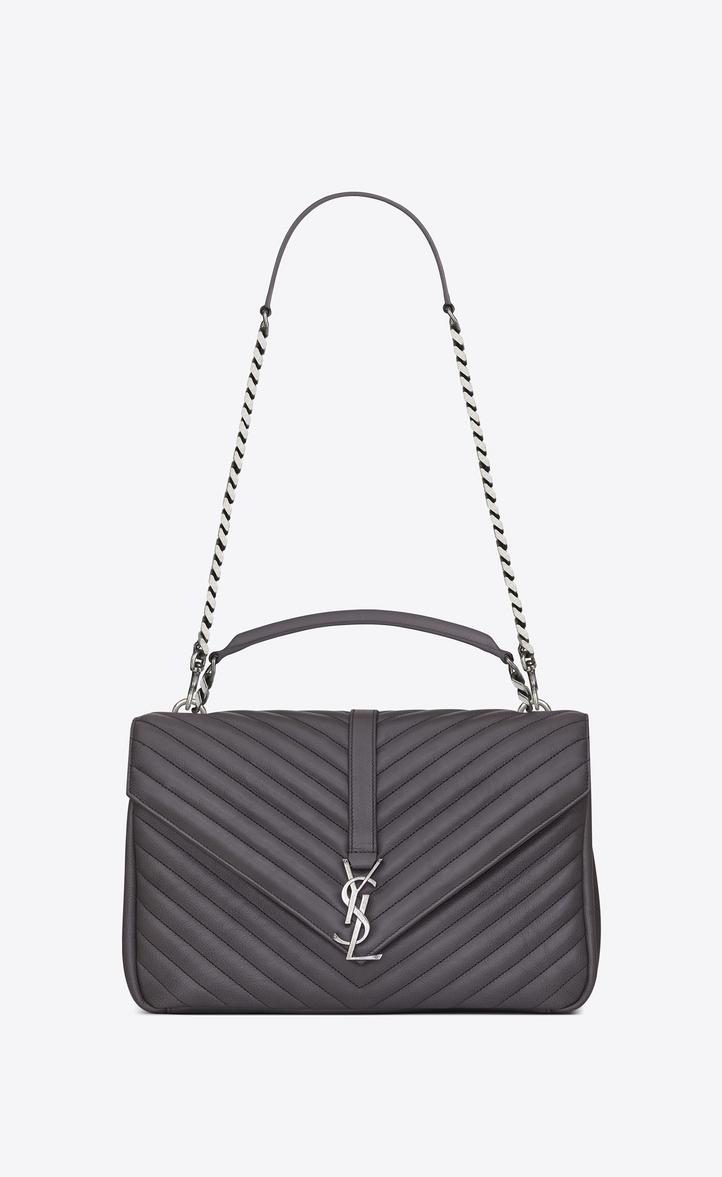 473bab7bd65c Zoom  large collège bag in dark anthracite matelassé leather