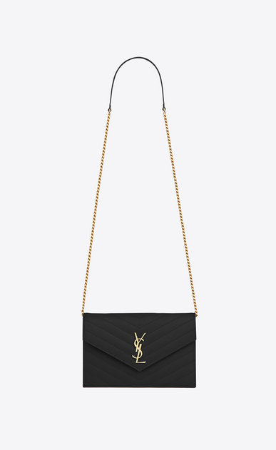 SAINT LAURENT Envelope Chain Wallet D monogram envelope chain wallet in black grain de poudre textured matelassé leather a_V4