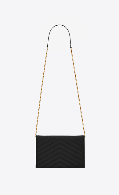 SAINT LAURENT Envelope Chain Wallet D monogram envelope chain wallet in black grain de poudre textured matelassé leather b_V4