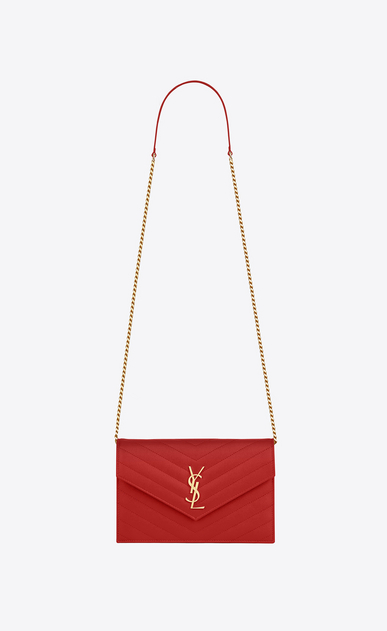 SAINT LAURENT Envelope Chain Wallet D monogram envelope chain wallet in red grain de poudre textured matelassé leather a_V4