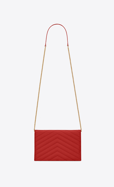 SAINT LAURENT Envelope Chain Wallet D monogram envelope chain wallet in red grain de poudre textured matelassé leather b_V4