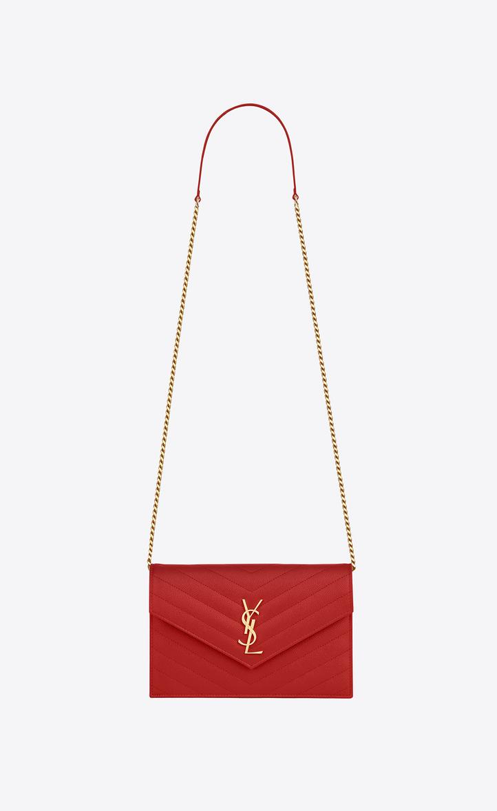 Saint Lau Envelope Chain Wallet In Red Textured