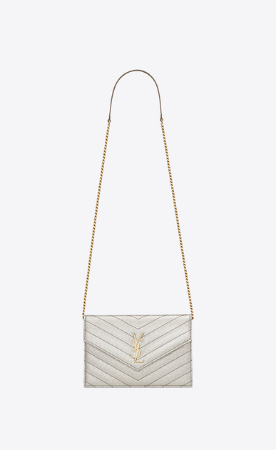 SAINT LAURENT Mini bags Enveloppe Woman envelope chain wallet in pale gold grained matelassé metallic leather a_V4