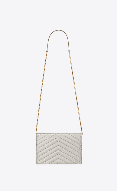 SAINT LAURENT Mini bags Enveloppe Woman envelope chain wallet in pale gold grained matelassé metallic leather b_V4