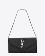 SAINT LAURENT Monogram Matelassé D MONOGRAM SAINT LAURENT Small Chain Wallet IN Black GRAIN DE POUDRE TEXTURED MATELASSÉ LEATHER f