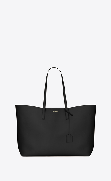 SAINT LAURENT Shopper Saint Laurent E/W D Shopping Bag aus schwarzem Leder  a_V4