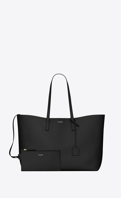 SAINT LAURENT Shopping Saint Laurent E/O Femme sac shopping en cuir noir b_V4
