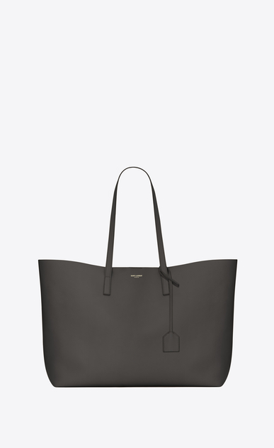 SAINT LAURENT Shopper Saint Laurent E/W D Shopping Bag aus dunkelgrauem Leder   a_V4