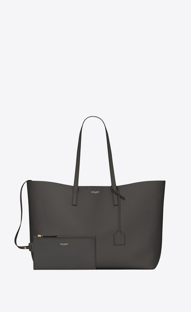SAINT LAURENT Shopper Saint Laurent E/W D Shopping Bag aus dunkelgrauem Leder   b_V4