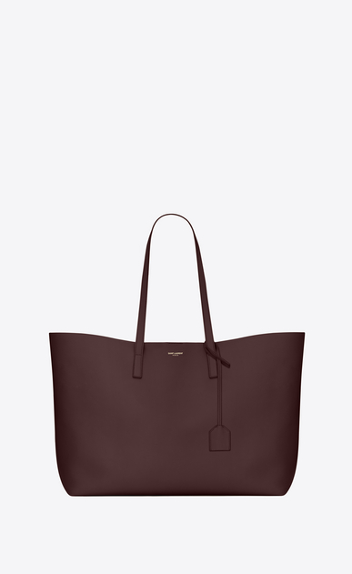 SAINT LAURENT Shopping Saint Laurent E/W D shopping saint laurent tote bag in bordeaux leather a_V4